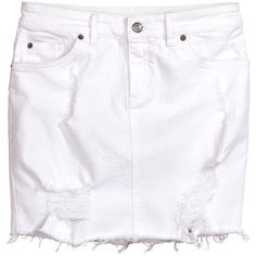 Ripped White Denim Skirt