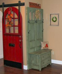 Hall Tree using old door