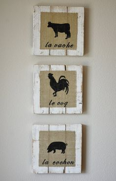 French Country Farm Animal Signs Made of Reclaimed Wood. $75.00, via Etsy.