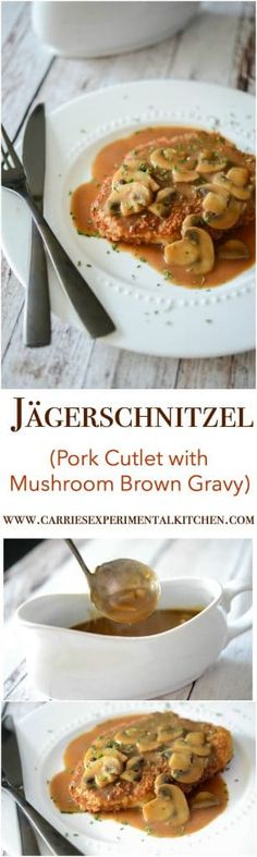 Jägerschnitzel is a German or Austrian dish made of pork or veal cutlets; then topped with a mushroom, brown gravy. Veal Cutlet, Pork Cutlets, Pork Chops, Pork Recipes, Cooking Recipes, Schnitzel Recipes, Pork Schnitzel, Cutlets Recipes, Gastronomia
