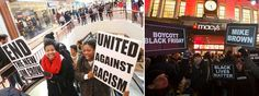 Protesters United Against #FergusonDecision Many stores closed their doors  #BlackoutBlackFriday #UnitedAgainstRacism #News