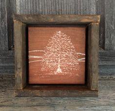 Fall Home Decor, Rustic Wall Art, Primitive, Rust Orange Copper, Dremel Art, Country, Camp, Cabin, Oak Tree, Mantle Decoration, Shelf