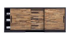 "Top Ten: Best Media Consoles — Annual Guide 2014Seguro Media Console, Crate & Barrel $1,699 (68"") or $1,499 (54""). A mix of chocolate and amber reclaimed wood pieces adds warmth to the ebony frame of this high-function storage piece."