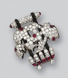 DIAMOND , RUBY AND ENAMEL BROOCH, CARTIER, CIRCA 1925 signed Cartier