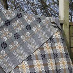 Melin Teifil coldatnight Welsh wool blanket in pebble grey