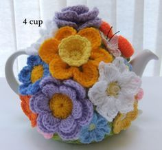 Hand knitted 4 cup Spring Rose floral tea by Crochet Cozy, Crochet Geek, Hand Crochet, Tea Cosy Pattern, Knitted Tea Cosies, Knitting Patterns, Crochet Patterns, Tea Cozy, Yarn Crafts