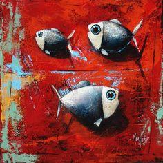 Trois poissons sur fond rouge - Acrylique sur toile de Pascal Merlet