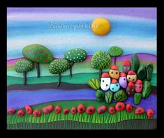 Artist Paints On Ordinary Stones To Create Rich And Colorful Layered Scenes