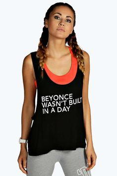 Pin for Later: 30+ Slogan Tees That Will Get You Inspired to Go Hard at the Gym Boohoo Aimee Wasn't Built Slogan Sports Vest Boohoo Aimee Wasn't Built Slogan Sports Vest (£8)