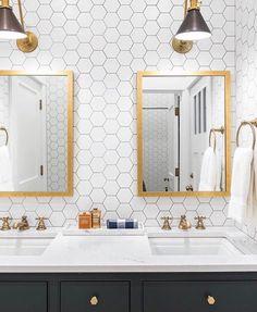 Tile wall in bathroom