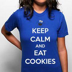 KEEP Calm Eat COOKIES funny cookie monster retro sesame street 80s t shirt tee s m l xl new T-SHIRT Womens Royal Blue e0494. $15.95, via Etsy.