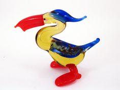 Glass Pelican Animal Figurines Miniature Little Pelican Glass Animals Murano Bird Gift Sculpture Art Collectible Artglass Lampwork Unique