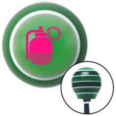 Pink Grenade w Pin Green Stripe Shift Knob with M16 x 15 Insert - Give your interior the ultimate look. American Shifter's Elite(TM) series shift knobs are made from the highest quality components resulting in a superior feel on every shift. Each shift knob is designed and customized in the USA by skilled shift knob artisans who have a trained eye on every detail. American Shifters shift knobs offers an exclusive aluminum threaded insert designed to be screwed onto your shift arm. You should…