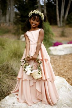 Boat neck flower girl dress with tiered floor length skirt in satin faced chiffon. (FG2950)