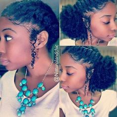 Natural hair twisted low curly puff