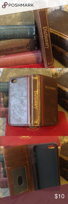 ✨IPhone 5 Wallet Credit Card Case✨ Sooo cute!! Faux dictionary iPhone 5 case. Small cracks on either side top of case form (as shown in pic #4) Vegan leather Accessories Phone Cases