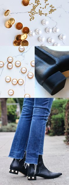 DIY Gucci-inspired pearl studded boots
