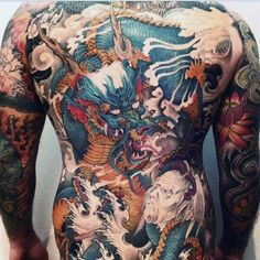 120 Full Back Tattoos For Men - Masculine Ink Designs Back Tattoos For Guys, Full Back Tattoos, Full Body Tattoo, Body Art Tattoos, Backpiece Tattoo, Tattoo Henna, Sick Tattoo, Japanese Dragon Tattoos, Japanese Tattoo Art
