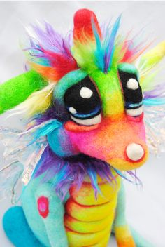 Felted Rainbow dragon. By Kasey Sorsby of Tanglewood Thicket Creations