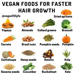 Vegan Foods For Faster Hair Growth The first thing to do for hair growth is to eat fruit. Fruits have many vitamins and beneficial… Vitamins For Hair Growth, Healthy Hair Growth, Hair Growth Tips, Hair Growth Food, Hair Vitamins, Herbs For Hair Growth, Vegan Vitamins, Hair Tips, Vitamins For Vegetarians