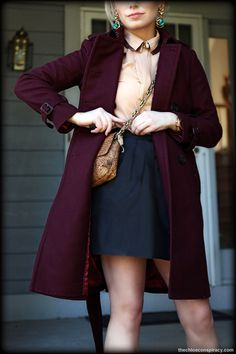Outfit Of The Yesterday: Peach + Burgundy + Black + Turquoise (& The J Crew Wool Cashmere Trench)   t h e (c h l o e) c o n s p i r a c y : fashion + life + style