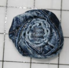 denim rolled flowers