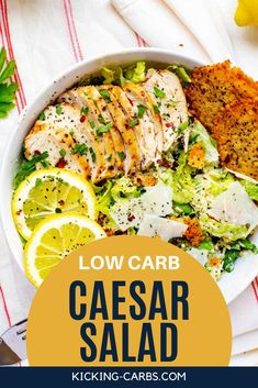 This Low Carb Caesar Salad has all the flavors you love and I promise, you won't miss the carbs. You are going to love the no-sugar dressing recipe - it is perfect for the keto diet!  The combination of crisp romaine, Parmesan, and creamy dressing with just the right added crunch is utterly satisfying. #KickingCarbs #Keto #SaladRecipes #HealthyRecipes #KetoLunchIdeas Low Carb Taco Salad, Salad Recipes Low Carb, Keto Recipes, Keto Lunch Ideas, Protein Pack, Meal Prep For The Week, Caesar Salad, Dressing Recipe, Perfect Food