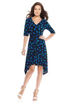 Royal Three Quarter Sleeve Asymmetrical Polka Dot Print Dress