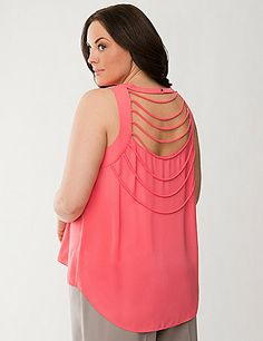 Laced with flirty cord detailing in back, this woven tank is stunning from every angle with Lane Collection charisma in every thoughtfully-designed feature. Chic, sleeveless blouse shows off your shape with a flattering keyhole neckline and trendy high-low hem - ideal for dressy or casual looks alike. Pull-on style with a buttoned halter closure.  lanebryant.com
