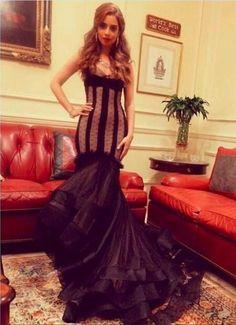 Hot Sale Black Tulle Mermaid Celebrity Dresses 2017 Prom Dresses V Neck Appliques Pleat Cap Sleeves Vestido De Festa