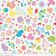 Wildflower main multi-colored cotton fabric | Martha Pullen  - hedgehogs and hummingbirds!