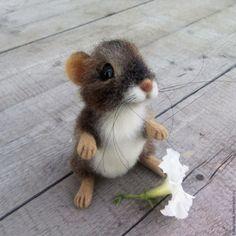 Купить Мышонок. Игрушка из шерсти - темно-серый, мышка, мышонок, мышь, мышка игрушка