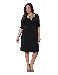Kiyonna Sweetheart Wrap Dress (black)