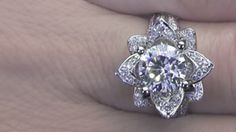Large Blooming Beauty Ring on the Finger Video Lotus Engagement Ring, Engagement Ring Styles, Designer Engagement Rings, Engagement Ring Settings, Wedding Rings Vintage, Vintage Engagement Rings, Fashion Rings, Gold Fashion, Diamond Rings