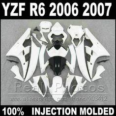 288.00$  Buy here  - 7 gifts body kit for YAMAHA R6 fairing 06 07 Injection molding white little black 2006 2007 YZF R6 fairings