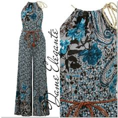 Blue Floral Print Neck Tie Up Belted Jumpsuit65 �0cotton 35�0polyester.  Doesn't stretch !!