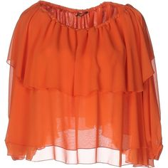 Olla Parèg Blouse ($115) ❤ liked on Polyvore featuring tops, blouses, orange, ruffle blouse, three quarter sleeve blouses, ruffle top, orange top and wide neck tops