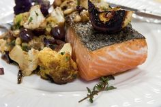 Pan-Seared Salmon with Cauliflower and Pinenuts: Refined and light, this impressive dish makes everyday dinners special. I love how beautifu...