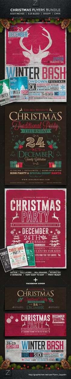 Christmas Flyers Bundle Template PSD | #christmas #christmasflyer #flyertemplate | Buy and Download: http://graphicriver.net/item/christmas-flyers-bundle/9728607?ref=ksioks