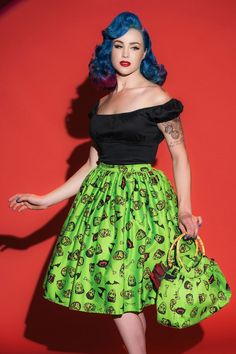 Deadly Dames Darling Dames Skirt in Monster