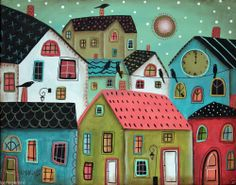 Noontime 14x11 inch ORIGINAL Canvas PAINTING Houses Birds Cats FOLK ART Karla G...new, just added, for sale now...