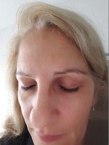 Wimperansicht VOR der ersten Anwendung mit geschlossenen Augen Top, Eyes