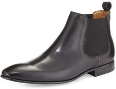 $395, Black Leather Chelsea Boots: Paul Smith Leather Chelsea Boot Black. Sold by Bergdorf Goodman. Click for more info: https://lookastic.com/men/shop_items/335928/redirect