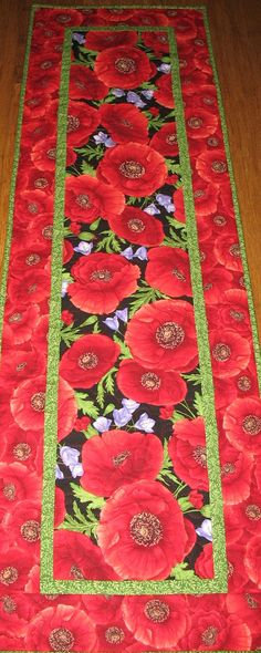 Poppy Table Runner or Wall Hanging, handmade, quilted, table runner quilted by PicketFenceFabric on Etsy