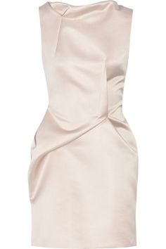 Taupe satin Zip fastening through back 100% polyester Dry clean Made in the UK