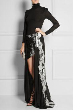 Jay Ahr Metallic-appliquéd cutout crepe maxi skirt NET-A-PORTER.COM