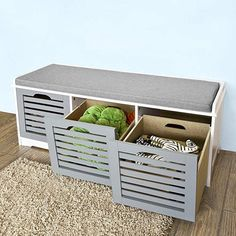 Haotian Storage Bench with Drawers & Padded Seat Cushion, Hallway Bench Shoe Cabinet Shoe Bench > Source by shoes Padded Storage Bench, Hallway Shoe Storage Bench, Hall Bench With Storage, White Storage Bench, Bench With Drawers, Storage Bench With Cushion, Storage Bench Seating, Shoe Bench, Outdoor Storage