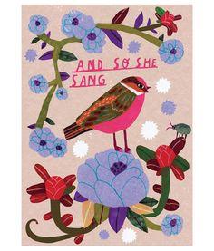 And so she sang #bird #illustration #monikaforsberg #etsy #print