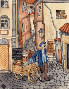 """'Baku"""" magazine illustrations, 2014: Junkman with an odd collection of old wounds, dusty memories, forgotten dreams, rustic resentments and first loves. by Sveta Dorosheva, Israel"""