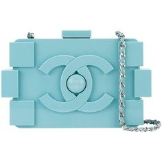 Chanel Boy Brick Clutch (23.725 RON) ❤ liked on Polyvore featuring bags, handbags, clutches, chanel, bolsas, locking purse, blue clutches, chain-strap handbags and chain strap purse